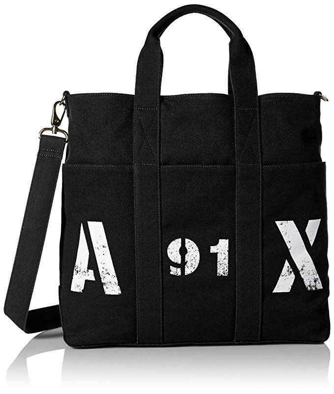 4fd84b9d4fa9  Affiliate  Amazon.com  Armani Exchange Men s Printed Ax Logo Canvas Tote  with Crossbody Strap