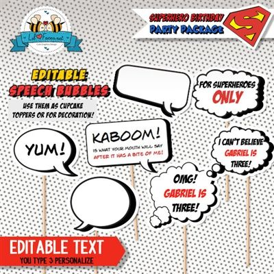 Editable Pop Art Superhero Birthday Cupcake Toppers  Superhero Baby Shower  Comics Speech Bubble Printable PDF By ByLolaPrintables