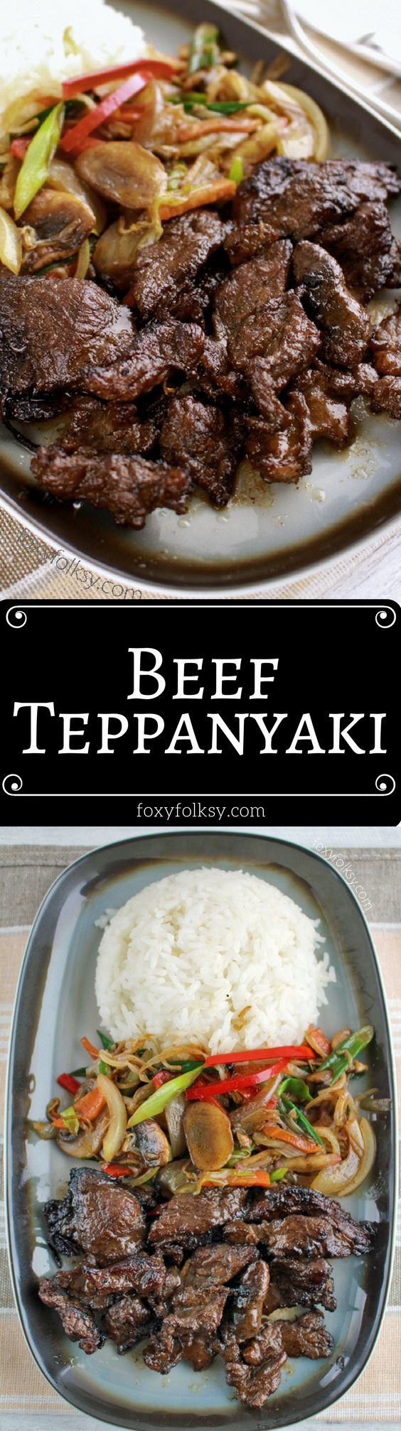 Make this beef teppanyaki at home without using a teppan. So easy and yummy! | www.foxyfolksy.com
