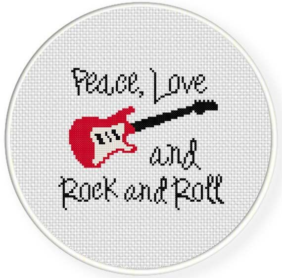 INSTANT DOWNLOAD Peace Love Rock and Roll PDF Cross Stitch Pattern Needlecraft -----------------------------------------------------