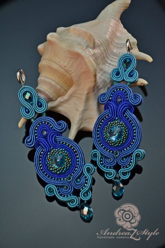 Hand embroided blue soutache earrings