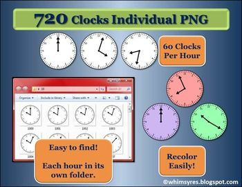 720 Analog Clocks - 1 minute intervals- Every time has an individual picture. Each hour has its own folder for easy location of the clock you need. Easy to recolor using power point or word.  4 Blank Clocks with white backgrounds and 4 Blank Clocks with clear backgrounds now included!