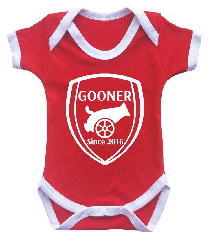 Baby's Arsenal football team inspired contrast customized red bodysuit onesie Gooner since the day baby born. by MumKnowsBabyGrows on Etsy
