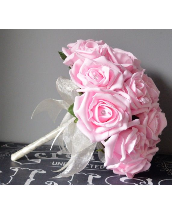 Bridesmaid Bouquet Bright Baby Pink Rose Bridal Flowers