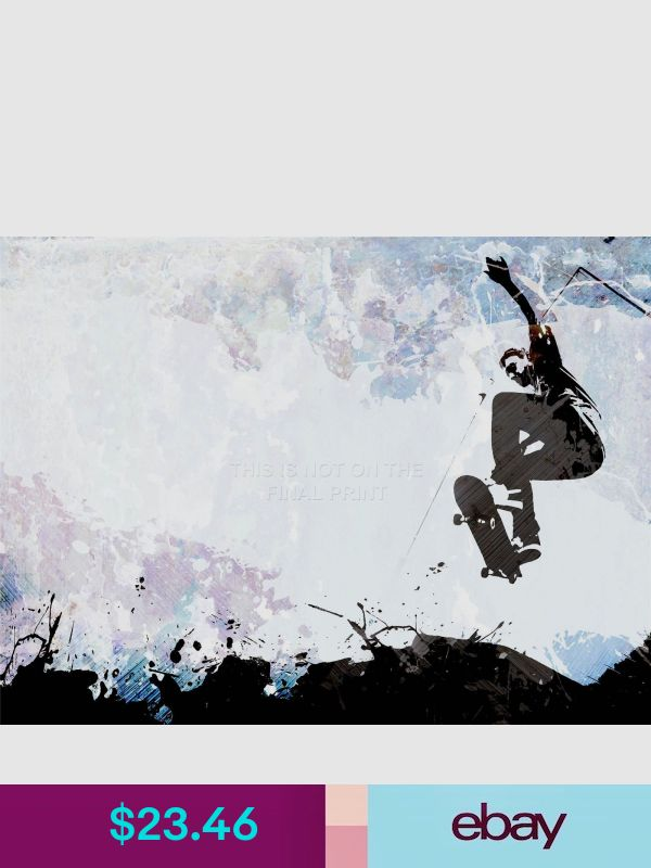 ART PRINT POSTER PAINTING DRAWING SPORT SKATEBOARD JUMP AIR ABSTRACT LFMP0431