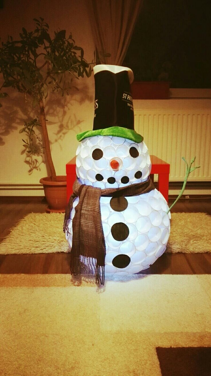 17 best ideas about plastic cup snowman on pinterest for Plastic snowman