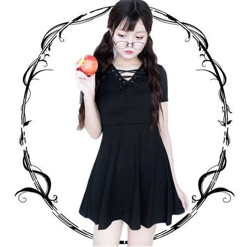 Japanese harajuku black slim v-neck dress SD01071 – SYNDROME - Cute Kawaii Harajuku Street Fashion Store