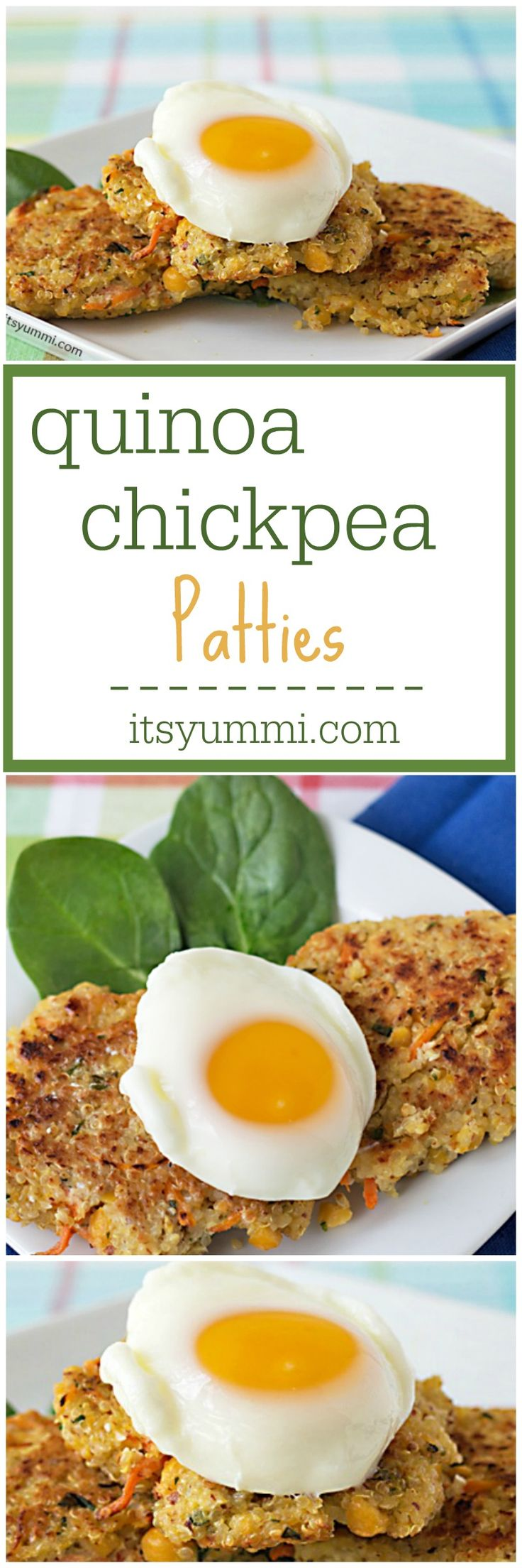 Healthy Recipe ~ Quinoa Chickpea Patties from @itsyummi - Full of protein, fiber, and flavor! They're perfect for Meatless Monday dinner. Vegetarian, gluten free, and dairy free, too.
