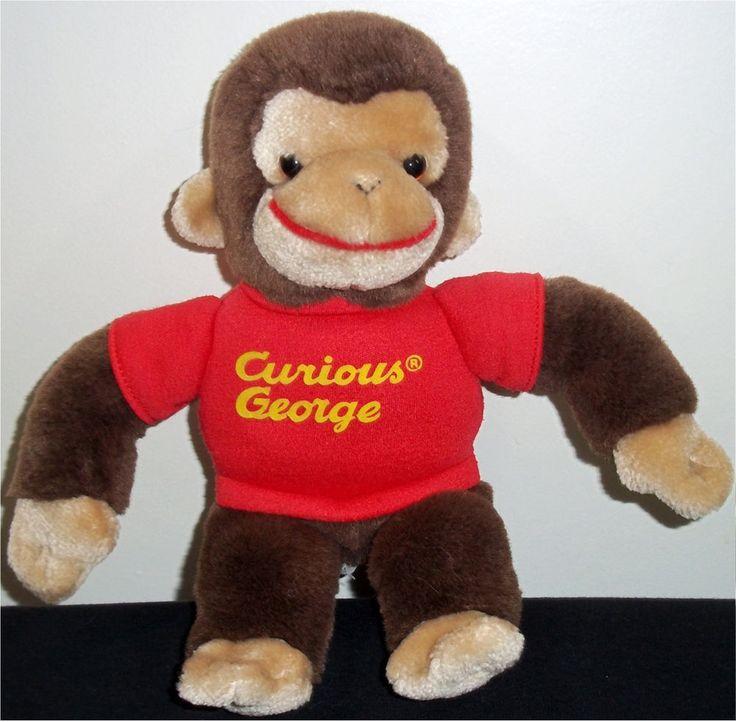 "Vintage GUND Curious George Stuffed Animal Brown Tan Monkey Red Shirt 13"" Toy #GUND"