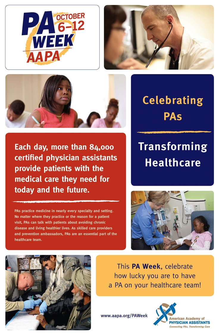 National PA Week, Oct. 6-12, is a celebration of the PA profession. Learn more at www.aapa.org/paweek.