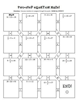 Two-Step Equations Notes & Maze Activity