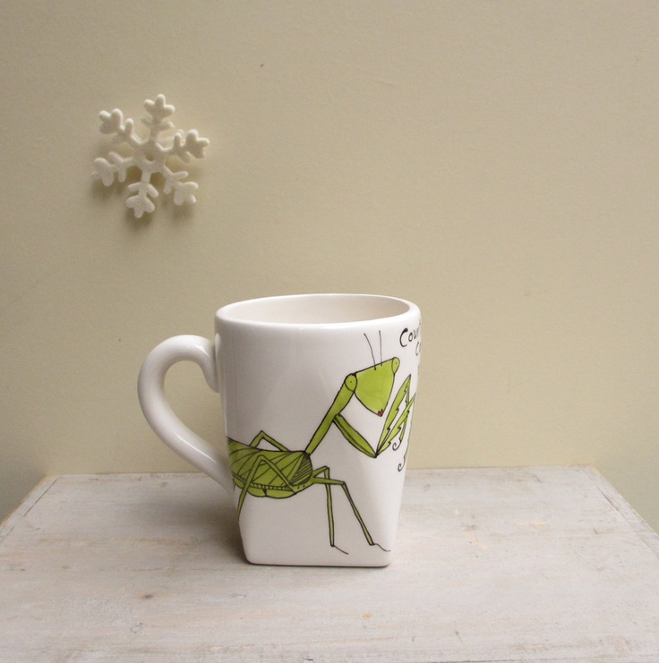 Ceramic Praying Mantis Cup Funny Unisex Insect Winter Mug