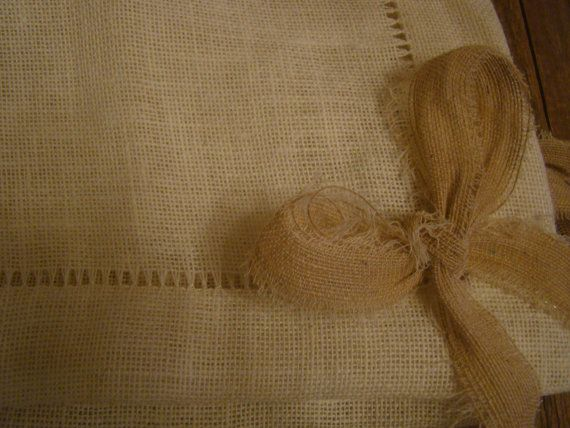 handmade  burlap Table Topper Cover by demetradaskloupo on Etsy