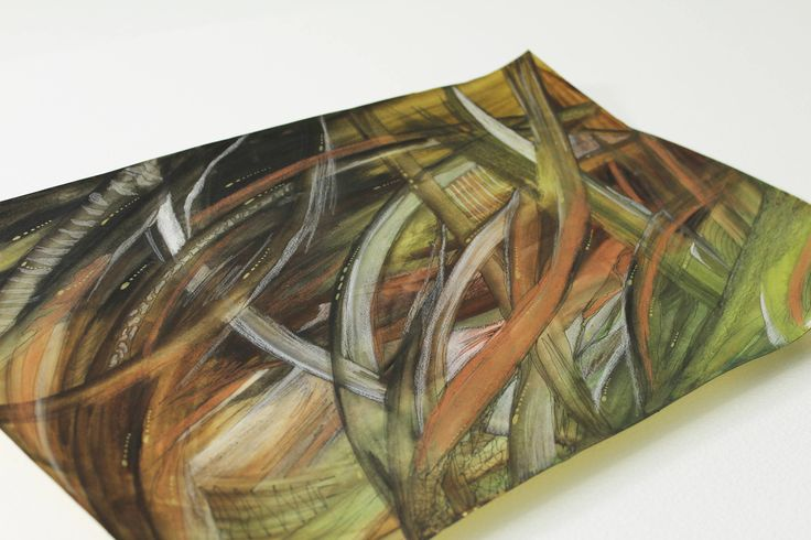 Green Abstract giungle Watercolours Tropical Foliage Ooak by italianmarinepainter on Etsy