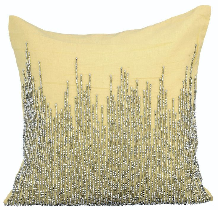 Luxury Decorative Throw Pillow Cover, 16x16 Inches Yellow Linen Pillow Cover, Sparkly Beads Embroidery Pillow Cover - Linen Yellow Heights by TheHomeCentric on Etsy