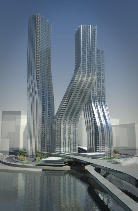 Rem Koolhaas Architecture   Dancing Towers: mega projeto para Dubai.