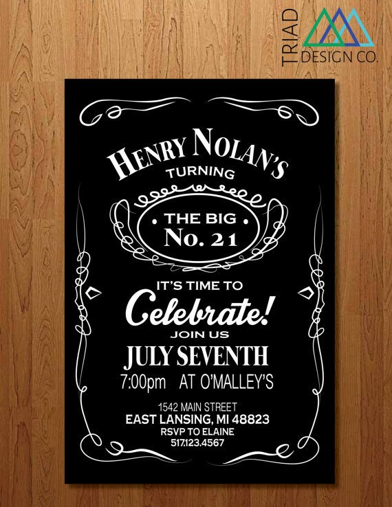 Printable Invitation 21st Birthday Bachelor By
