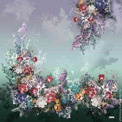 Итальянский хлопковый джерси К-698 - цветочный принт,цветочный узор,красивая ткань