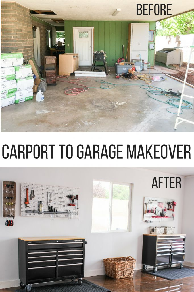 We turned our drab outdated carport into a functional and pretty garage. Now we can work and play in style. You won't believe the before and after pictures.
