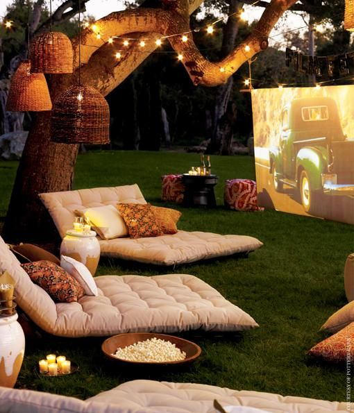 Movie night in the garden?! Just needs a projector laptop or DVD player, and a screen (a sheet or a blank wall work too). | Garden Design