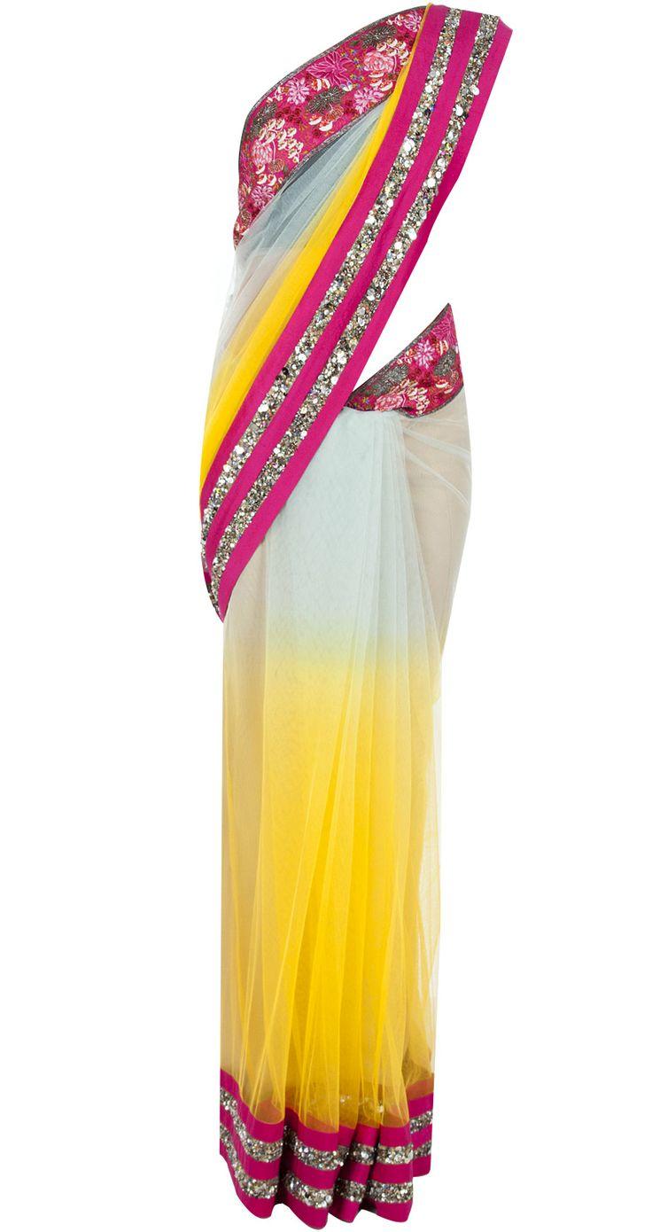 Embroidered blue and yellow sari by VARUN BAHL. http://www.perniaspopupshop.com/designers-1/varun-bahl