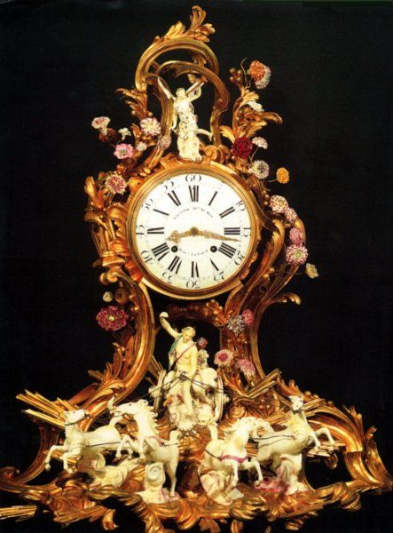 Louis XV Ormoulu And Porcelain Clock Depicting Apollo And The Chariot Of The Sun, The Porcelain Figures Are Mid 18th Century Productions By The Greatest Sculptor At Meissen, J. J. Kaendler - France And Germany   c. Louis XV Period