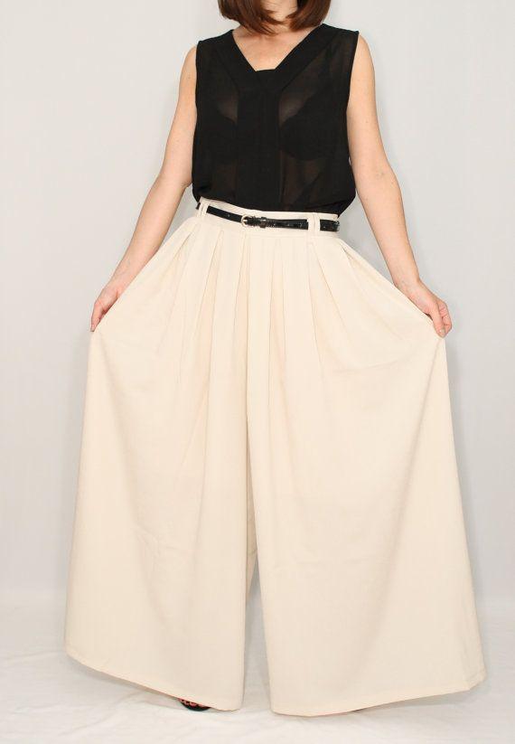 Chiffon pant skirt Beige palazzo pants Ivory skirt by dresslike