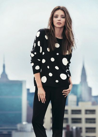 Maxi polka-dot loose-fit sweater  Miranda Kerr is the face of the new MANGO collection this Winter. We present the must-have trends for your wardrobe this season. #FW13 #NewCollection #MirandaKerr
