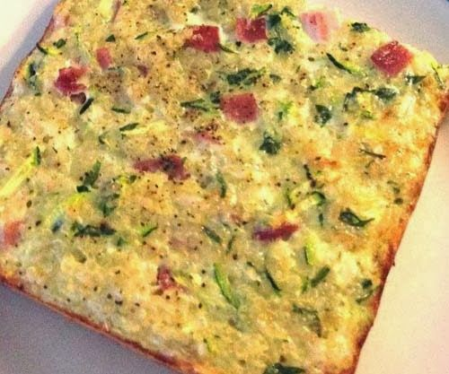 Quinoa frittata. Could easily sub out the ham for more veggies for a meat-free dish. YUM!