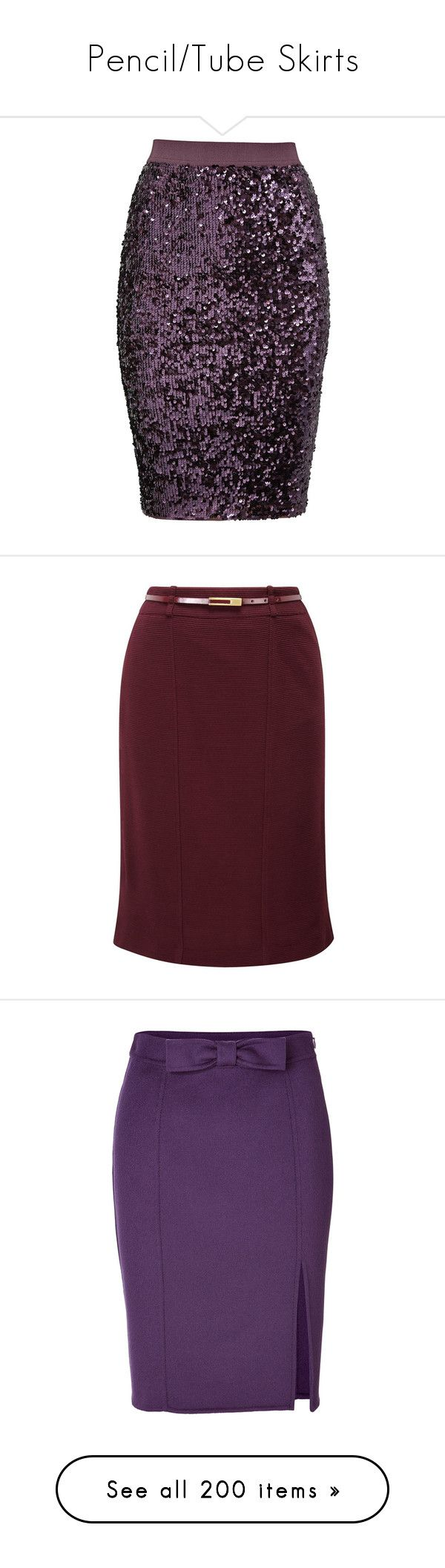 """""""Pencil/Tube Skirts"""" by pretty-fashion-designs ❤ liked on Polyvore featuring skirts, bottoms, saia, purple, pencil skirt, purple skirt, bodycon skirt, slimming skirts, body con pencil skirt and jupes"""