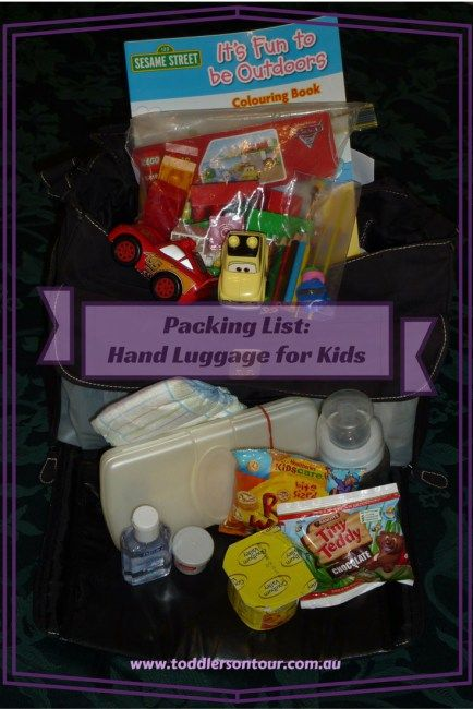 A packing list for kids hand luggage