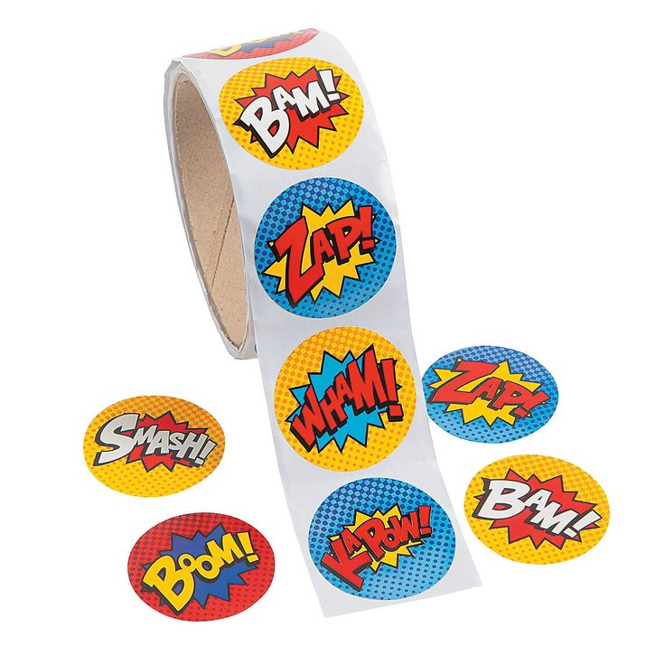 ORDERED Superhero Stickers - OrientalTrading.com $2.55/100roll... we could use these to decorate plain name tags.