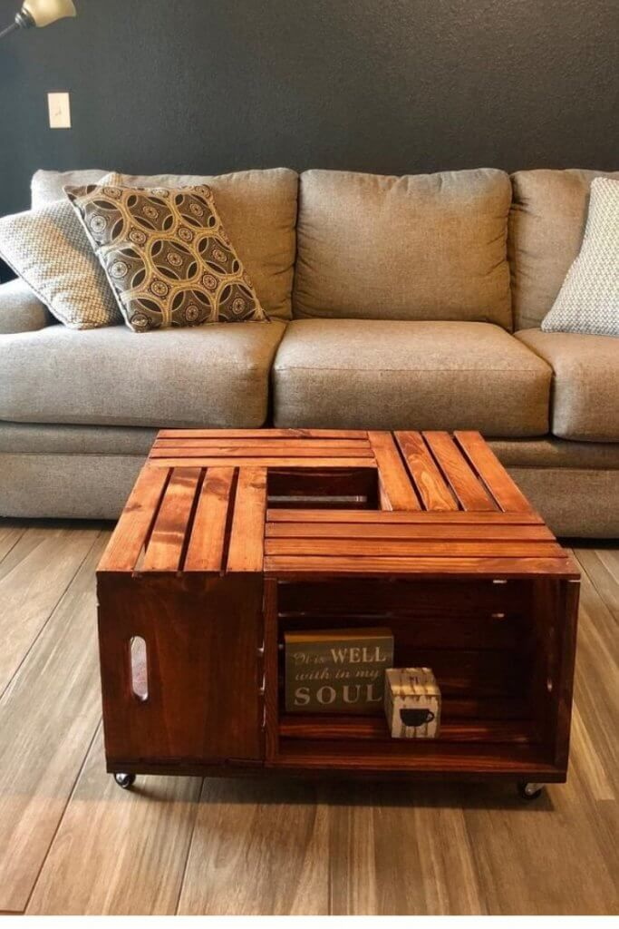 Learn How To Make Lovely Diy Nightstand Ottoman And Coffee Table Out Of Wooden Crates You Can Use Vintage Wine Or Apple Crates Or