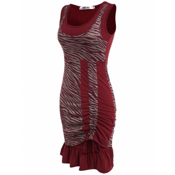 Robe de travail asymétrique zébré & volant rouge - bestyle29.com