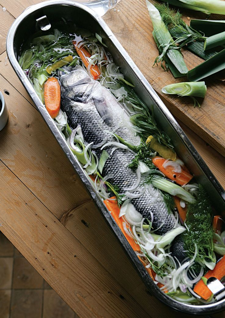 Whole fish poached in a court-bouillon recipe from The River Cottage Fish Book by Hugh Fearnley-Whittingstall | Cooked
