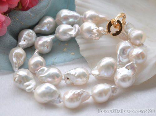 "Lustre 17"" 20mm White Drip Baroque Keshi Reborn Pearl Necklace | eBay"