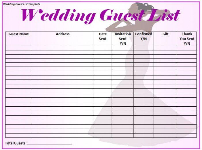 Wedding Guest List Template Word Excel Formats Wedding