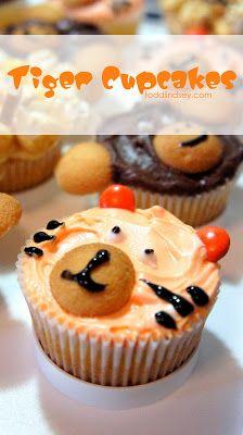 Cupcake personaliza como tigre para una fiesta en la selva. #IdeasCupcakes