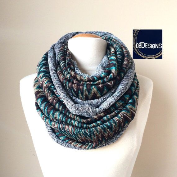 Nursing Scarf Chevron Infinity Scarf Brown Teal Thick by 08Designs