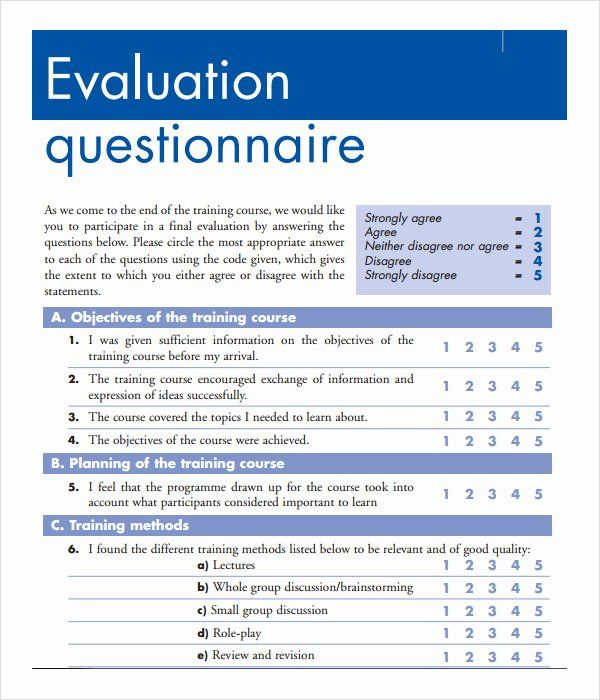 Training Evaluation forms Template Fresh Training