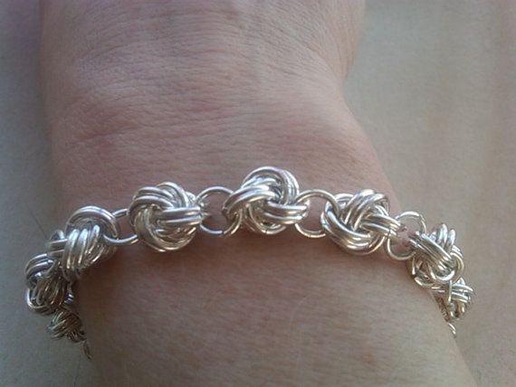 Chainmaille: Sterling Silver Chain Maille bracelet with blue Quartz Adornment by Etsy seller eemabeth - Inspiration.