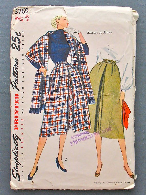 Vintage 50s Simplicity 3769 sewing pattern for skirt by Fancywork, $7.95: Sewing Patterns