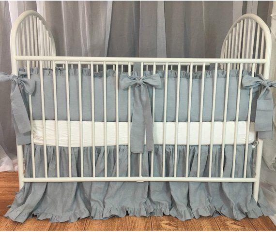 Duck Egg Blue Baby Bedding Set With Sash Ties Ruffled Crib Skirt