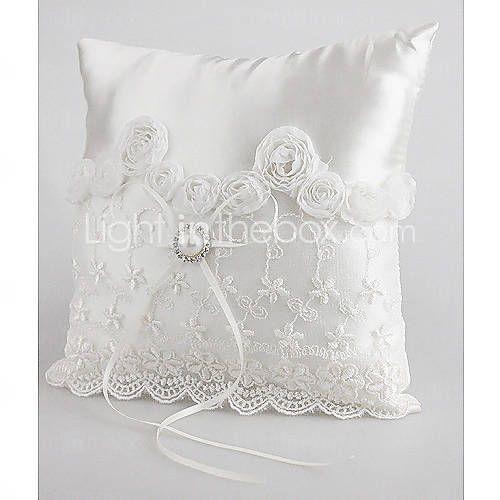 [EUR € 8.24] belle bague de mariage oreiller en satin blanc à la poire et lacets