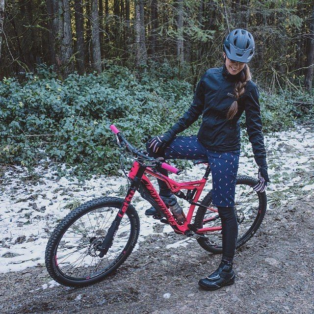 "bikes-bridges-beer:  ""#cannondale #lefty #mtb #bicycle #bike #girl #winter #biking #snow  """