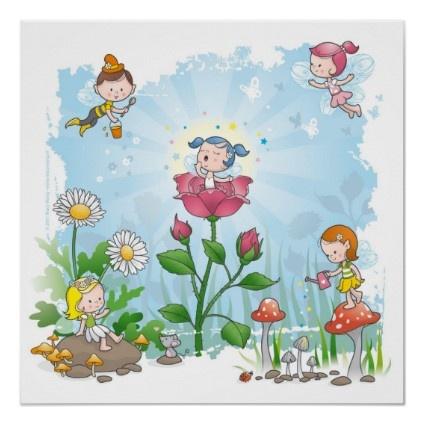 Adorable cartoon Fairies Art Print for girls nursery fairy decor