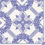 Caspari Napkins -Rennaisance Damask design blue on white 3ply 40cm dinner napkin.