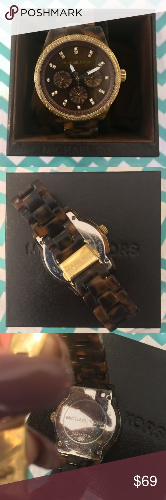 Brown & Gold Michael Kors Tortoise & Pearl Watch MK ladies watch in EXCELLENT used condition. Michael Kors Accessories Watches
