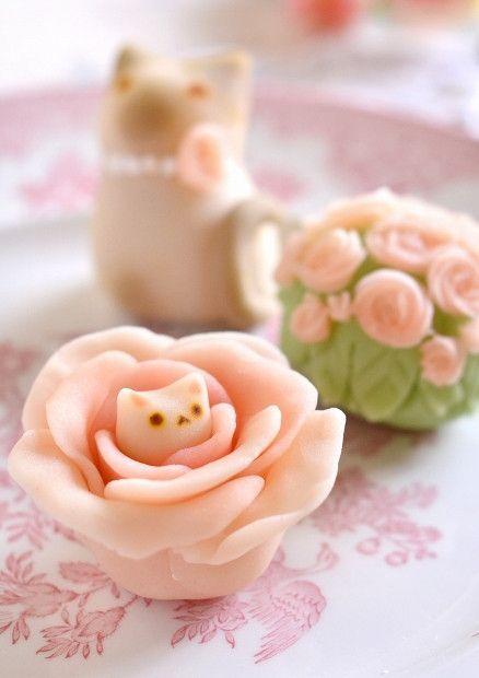 薔薇と猫のねりきり|かわいいと猫がいっぱい♪ Lauraのスイーツ&ハンドメイド