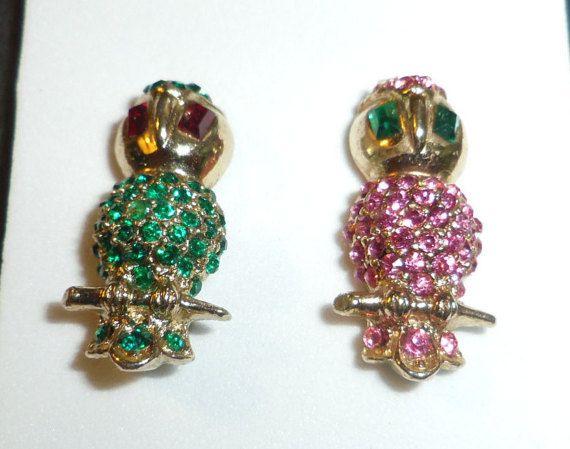 Rhinestone Owl Brooches Scatter Pins Goldtone 1 by Lynnestreasures